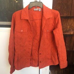 Jackets & Blazers - burnt orange flower embroidered jacket